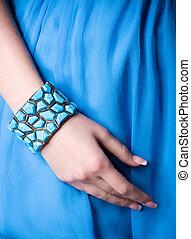 beau, bracelet, main