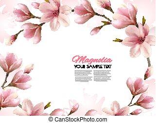 beau, branches., fond, nature, printemps, magnolia, vector.