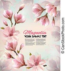beau, branches., vector., printemps, résumé, fond, magnolia