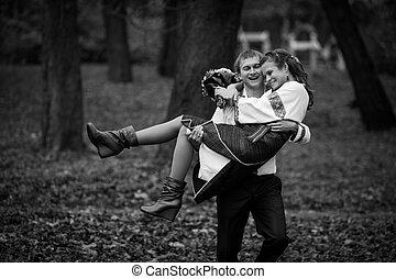 beau, broderie, ukrainien, palefrenier, parc, procès, automne, mariée, fond, indigène