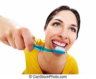 beau, brosse dents, femme
