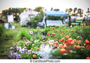 beau, brouillé, conception, fond, balançoire, fleurs, paysage