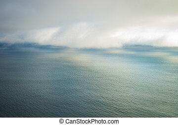 beau, brouillard, banque, au-dessus, océan