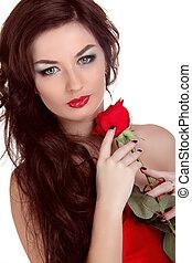 beau, brun, femme, beauté, rose, longs cheveux, tenue, portrait, rouges
