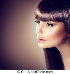 beau, brun, femme, beauté, sain, faire, lisser, haut, cheveux