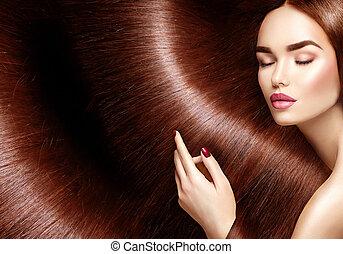 beau, brun, femme, beauté, sain, longs cheveux, fond, hair.