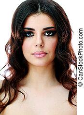 beau, brun, femme, longs cheveux, closeup, portrait