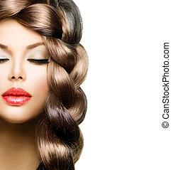 beau, brun, femme, sain, longs cheveux, braid., modèle