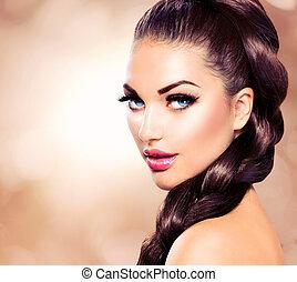 beau, brun, femme, sain, longs cheveux, braid.