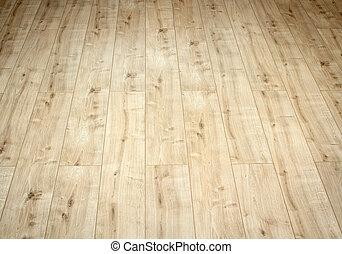 beau, brun, plancher, bois, haut, laminé, détail, fin
