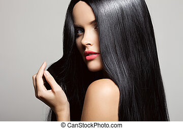 beau, brunette, beauté, sain, long, girl., w, hair., modèle