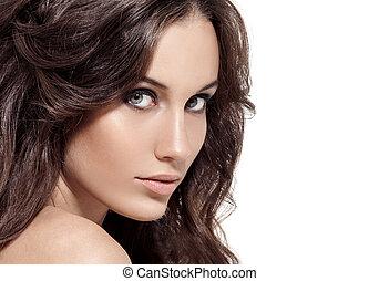 beau, brunette, bouclé, long, hair., woman.
