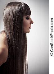 beau, brunette, directement, longs cheveux, portrait femme