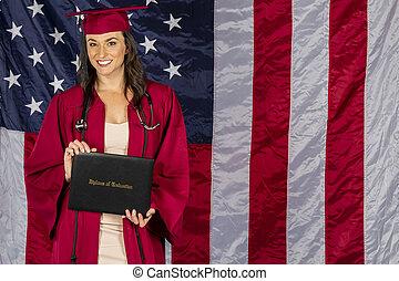 beau, brunette, drapeau, diplôme, américain, poser, fond, modèle