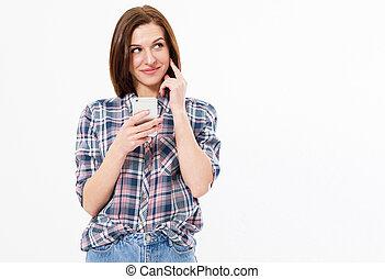 beau, brunette, elle, image, espace blanc, femme, fond, appareil, utilisation, sourire, copie, girl, smartphone., heureux