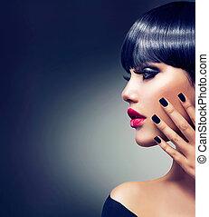 beau, brunette, face., makeup., lèvres, portrait., sensuelles, girl, rouges
