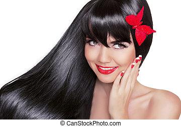 beau, brunette, femme, à, sain, long, noir, hair., beauté, charme, mode, portrait, de, sourire heureux, girl, modèle, à, clair, vacances, maquillage, isolé, blanc, arrière-plan.