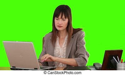 beau, brunette, fonctionnement, elle, femme affaires, bureau