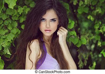 beau, brunette, fraîcheur, dehors, portrait, girl, apprécier