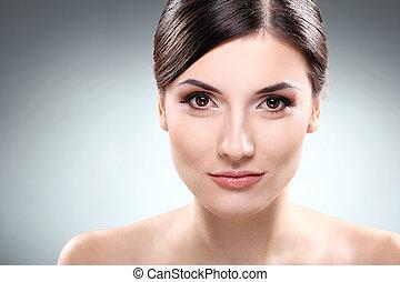 beau, brunette, propre, figure