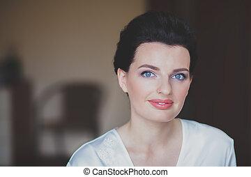 beau, brunette, sain, jeune, bain, portrait femme, spa, blanc, robe
