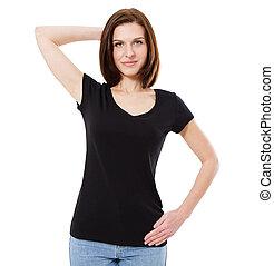 beau, brunette, t-shirt, arrière-plan noir, devant, blanc, vue
