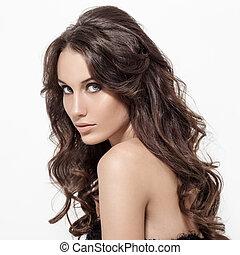 beau, brunette, woman., bouclé, long, hair.