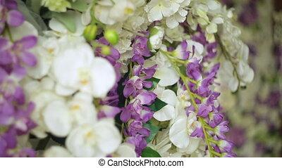 beau, cérémonie, décor, gros plan, mariage, fleurs