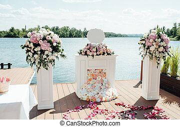 beau, cérémonie, parc, détails, mariage
