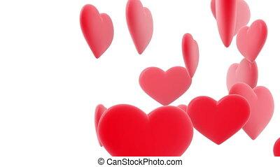 beau, cœurs, fait boucle, animation