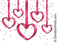 beau, cœurs, ruban, clinquant, fond