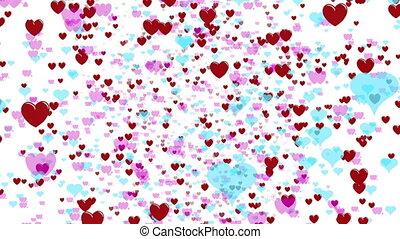 beau, cœurs, voler, amour