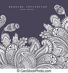 beau, c, ornament., salutation, invitation., indien, mariage, floral