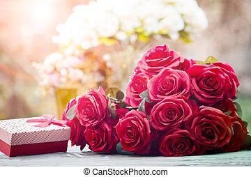 beau, cadeau, festival, bouquet, valentin, roses, fond, barbouillage, fleurs, rouges