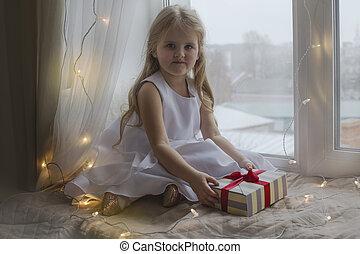 beau, cadeau, tenue, girl, robe, blanc