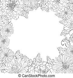 beau, cadre, flowers., chrystant