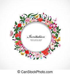 beau, cadre, rond, conception, fleurs, ton