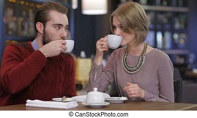 beau, café, amour, couple, jeune, portrait, café, avoir