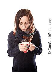 beau, café, femme, angle, tasse, -, jeune, élevé, chaud, portrait, sourire