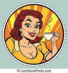 beau, café, femme, jeune, boire, comique