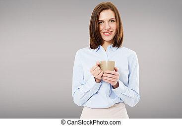 beau, café, femme, tasse, isolé, brunette, apprécier