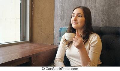 beau, café, femme, tasse, jeune, chaud, fenêtre, boire, café