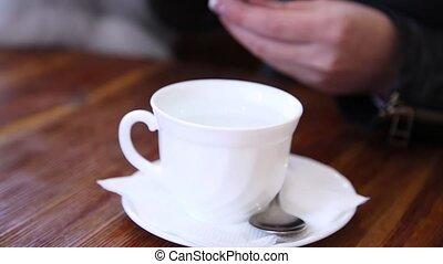 beau, café, femme, thé, jeune, boire, café, ou