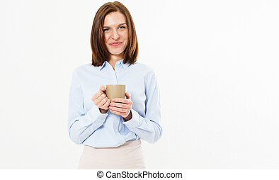 beau, café, girl, grande tasse, thé, jeune, amical, arrière-plan., chaud, poser, tenue, blanc, ou