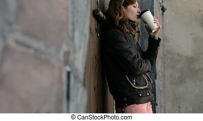 beau, café, rue, boire, girl