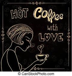 beau, café, silhouette, femme, tasse