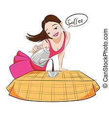 beau, café versant, brunette, tasse, caractère, vector., illustrations, girl, dessin animé