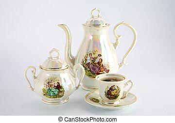beau, café, vieux, sugar-basin, tasse, pot, dessin