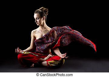 beau, calme, femme, médite, dans, lotus position