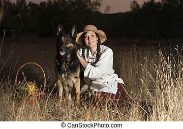 beau, campagne, girl, chien